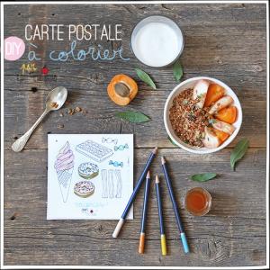 Carte postale à colorier - Vacances - Petits Béguins