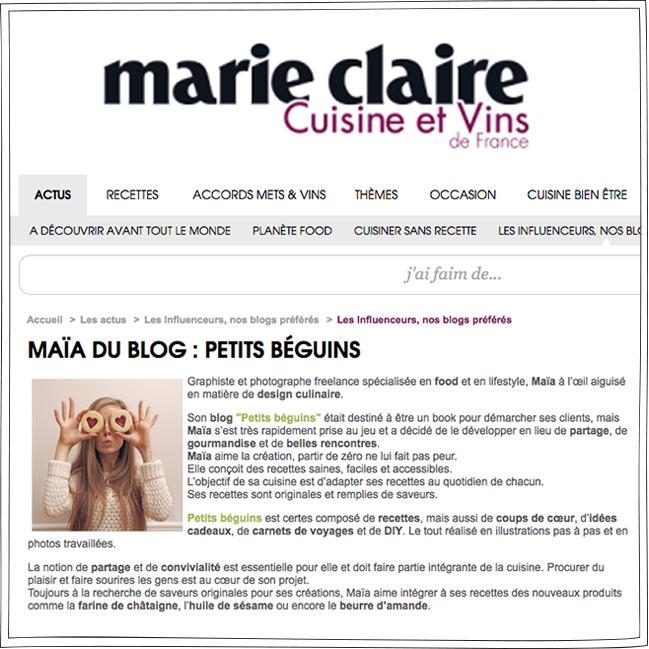Cuisine et Vins de France - Presse - Petits Béguins