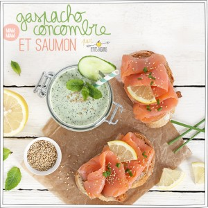 Gaspacho de concombre - Tartine de Saumon - Recette - Petits Béguins