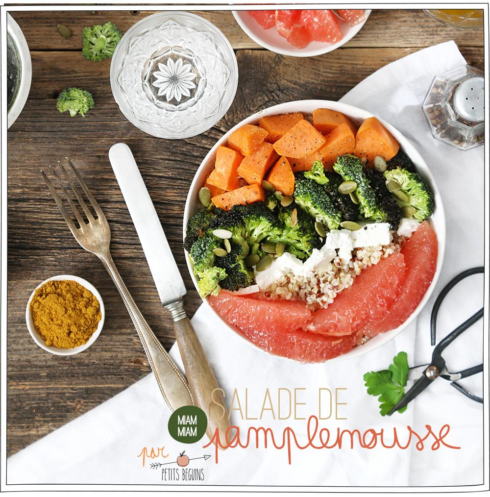 Salade colorée d'hiver - Pamplemousse de Floride - Recette - Petits Béguins